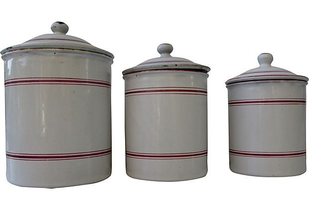 Antique Enamel Canisters, Set of 3
