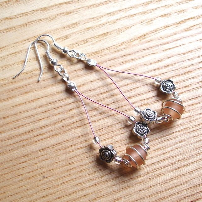 Peach Spiral and Flower Loop Bead Earrings, Gorgeous Stocking Filler for Her £4.00