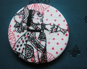 Queen on Hearts 2 1/2 inch round badge