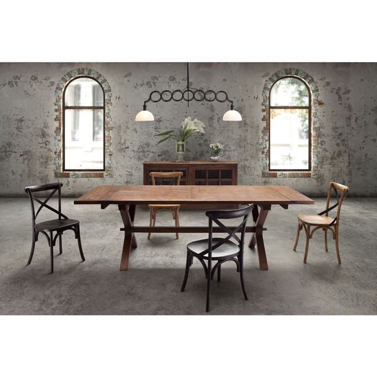 Great Laurel Heights Dining Table Distressed Natural Solid Finished Elm Wood With Two Leaves On Trestle
