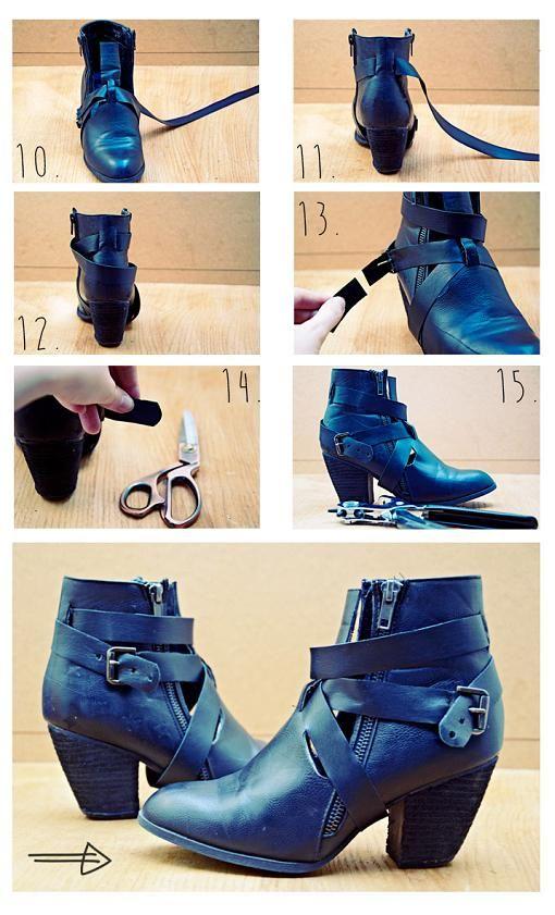 todo el proceso: http://ropadiy.com/customizar-zapatos/como-hacer-unos-botines-abiertos/