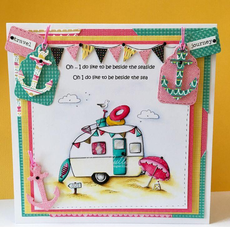 All dressed up stamps/ Wendy Burns/ image/ digi/ sandy beach/ caravan/ Polychromos pencils/ Ness Butler/ copics/