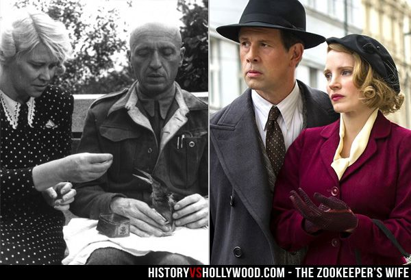 Antonina and Jan Zabinski, the couple depicted in The Zookeeper's Wife movie starring Jessica Chastain. Learn about the real story here: http://www.historyvshollywood.com/reelfaces/zookeepers-wife/
