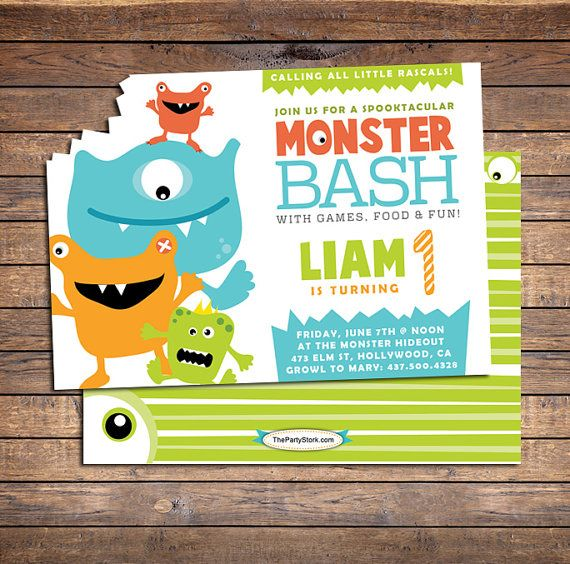 Monster Invitation | Printable | Boy Birthday Party Invite | Green Blue Orange | See our Shop for Monster Party Decorations