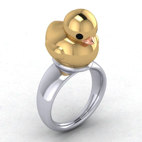 What The Duck Sterling Silver Duck Ring Gold by PaulMichaelDesign