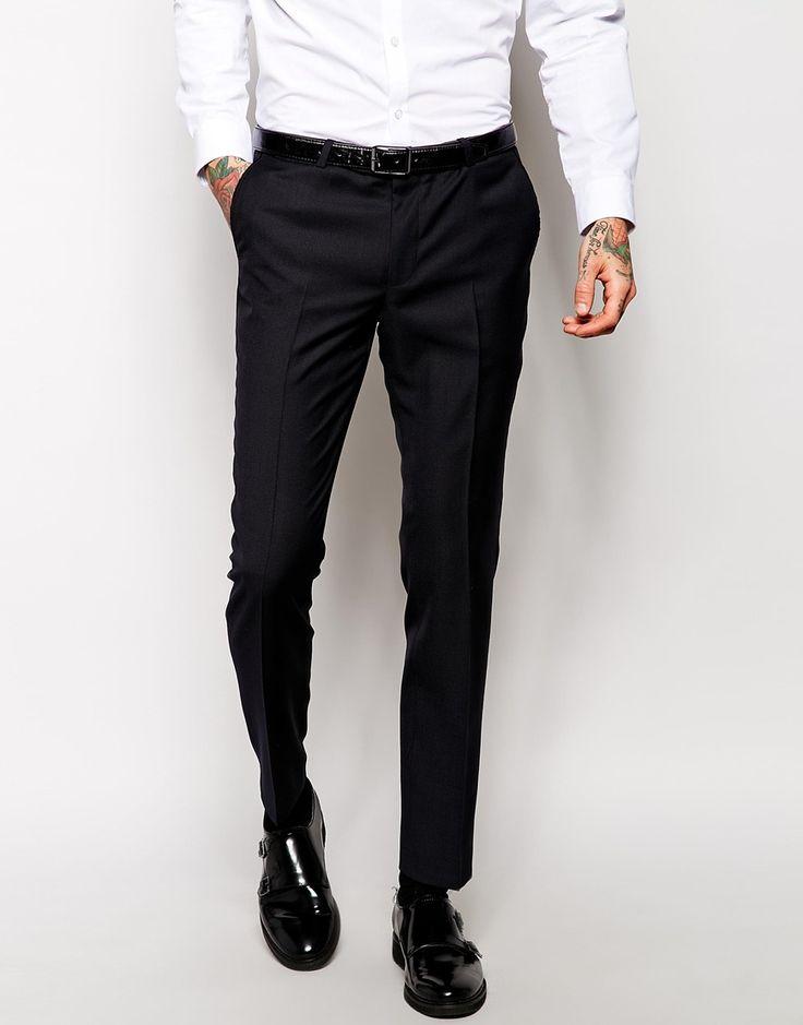 Slim Fit Suit Trousers Black   My Dress Tip