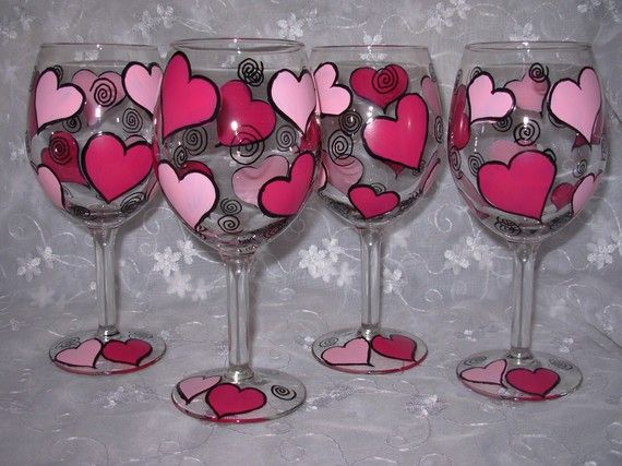 pretty wine glasses in shades of pink