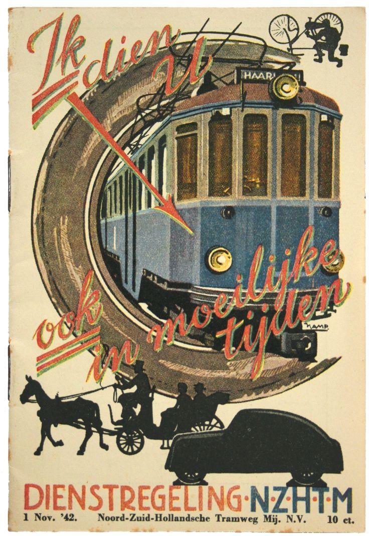 Affiche van de NZH met daarop de blauwe tram, 1942. (Collectie Streekmuseum Jan Anderson)