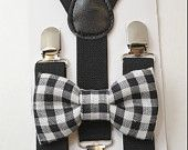 Size 6 months- 18Years Kids Baby Boys Black Suspenders & Plaid Cotton clip on /  pre-tied straps  bowtie bow tie SET