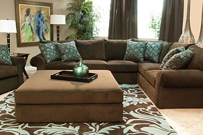 Mor furniture wonka chocolate sectional living room for for Chocolate brown couch living room ideas
