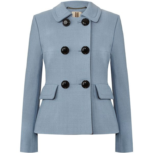 Straight fit double breasted coat in wool blend fabric with crepe texture. The coat has a rever collar with seamed detail. Oversized patch pockets on this coat…