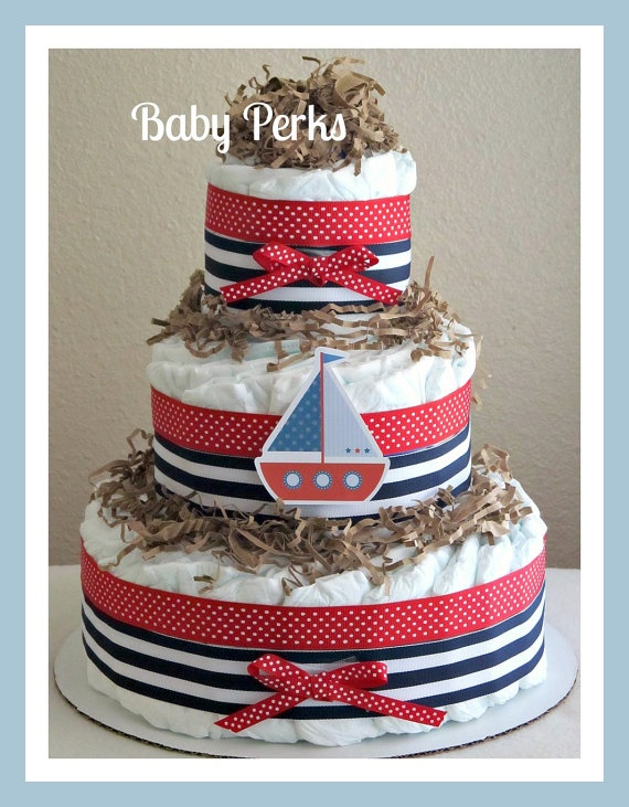Nautical Diaper Cake by MsPerks on Etsy, $49.00