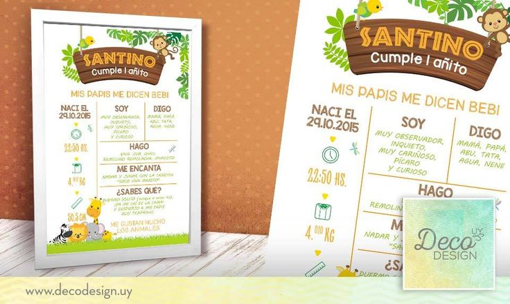 Pizarra/poster de caracteristicas animales de la selva, safari