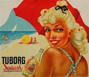 Lauritz.com - Grafik - Plakat, 'Tuborg Squash', litografi, ca. 1950'erne - DK, Vejle, Dandyvej
