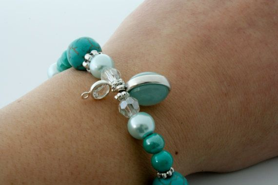 Charm bracelet with turquoise and azore pearls van Fedaro op Etsy