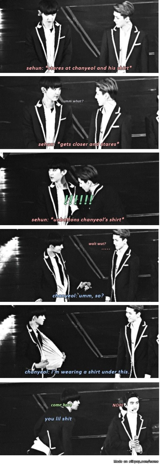 Sehun & Chanyeol. What makes this picture more hilarious is thef fact that hunnie is hiding behind squishy!!!! lol