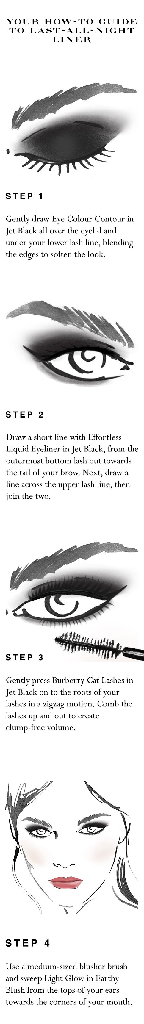Your easy to follow make-up 'how to' for last-all-night liner in 10 minutes. Shop the complete look at Sephora.com and explore new Burberry Cat Lashes.