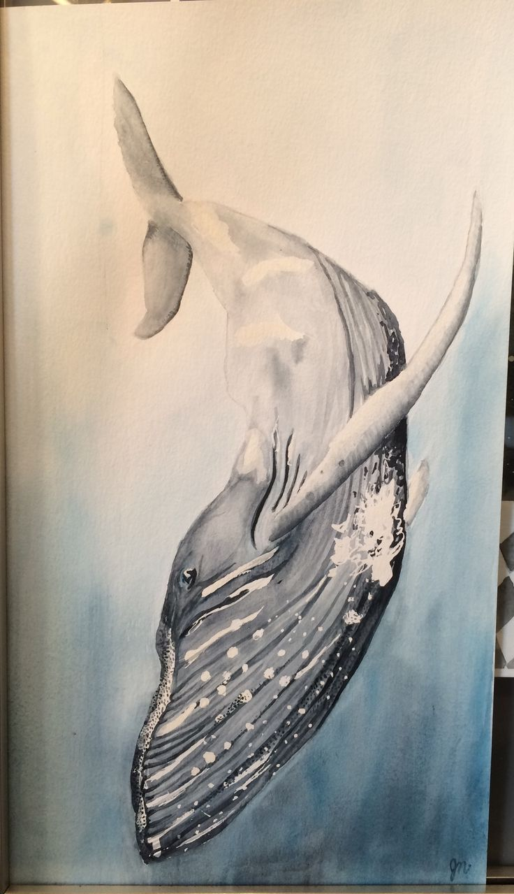 Whale diving down watercolour