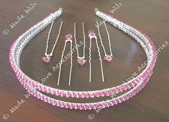 Pink Tiara Band Swarovski Crystal Tiara by Makewithlovecrafts
