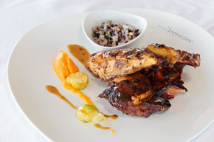 From Impressions Restaurant.: New aged organic rooster with Mavrodafni wine and rosemary sauce, served with basmati wild rise. Dinner from 19.00 -23.00