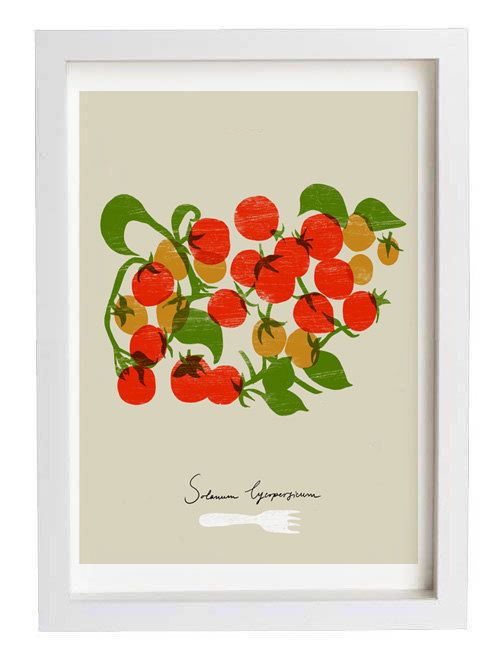 Cherry tomatoes Kitchen Art Print  11x15  archival fine by anek, $45.00
