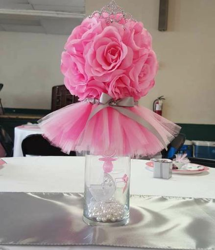 Glass vase with flower ball & tutu.