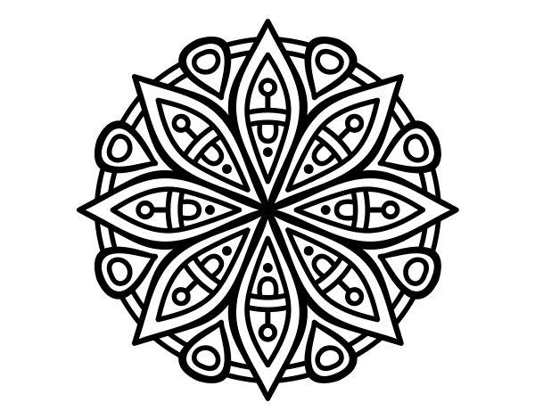 Dibujo de Mandala para la concentración para Colorear