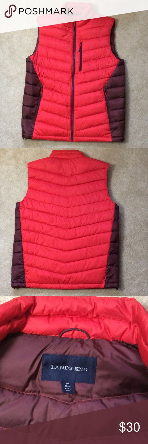 Down Vest Worn once.  90% down, 10% feathers.  Very lightweight. Mens medium, 38-40.  Red and brown. Lands' End Jackets & Coats Vests