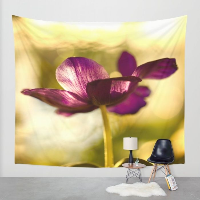 Buy Glowing Purple Flower  Wall Tapestry by Päivi Vikström. Worldwide shipping available at Society6.com. Just one of millions of high quality products available.