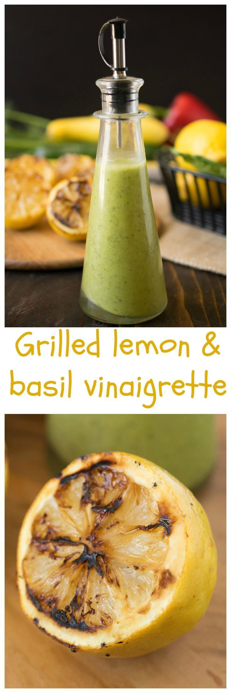 Grilling lemons make them juicy and sweet which makes for a delicious dressing with fresh basil.