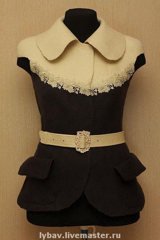 Купить Небесная ласточка - небесная ласточка, ретро, комбинированный, валяный жилет, одежда для женщин