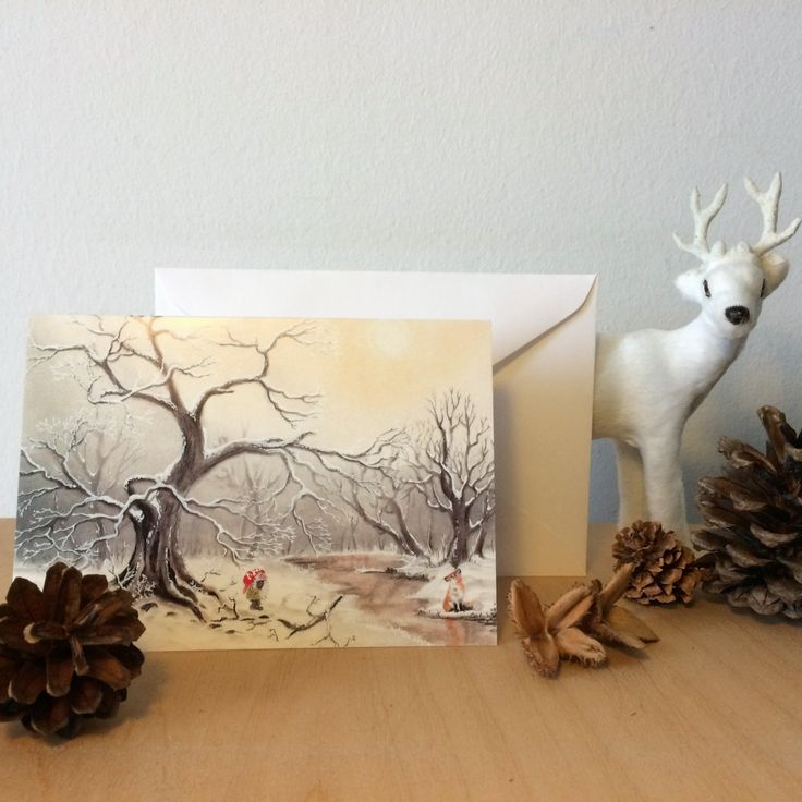 """Christmas Card: """"Gnome and fox"""". Xmas, holiday, cards, greeting, winter, nordic, traditional, woodland, hygge, gnome, nisse, tomte, fox by ArtLisbethThygesen on Etsy"""