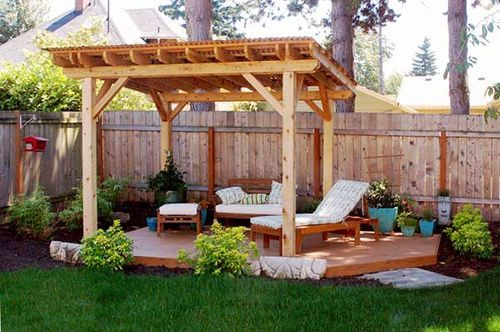 Pergola with sloped roof.