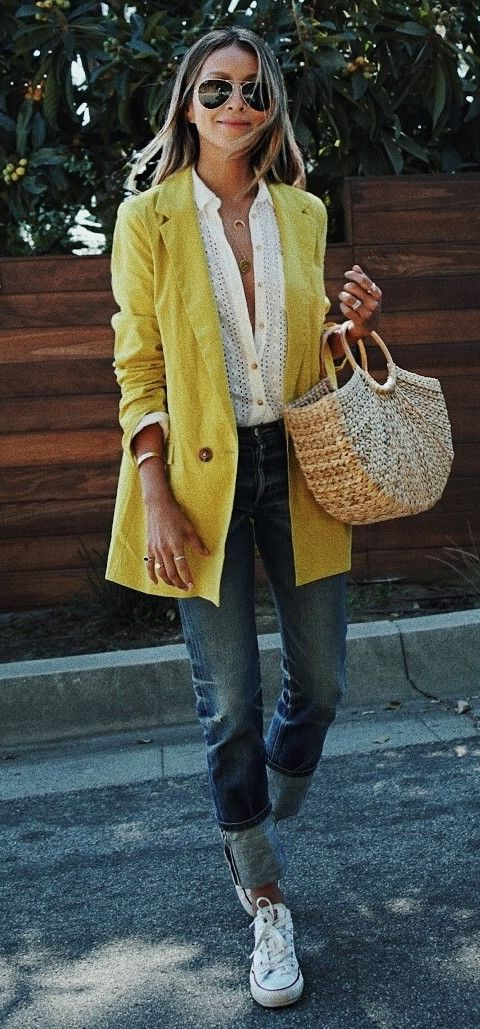 casual style obsession yellow blazer + bag + converse + top + jeans