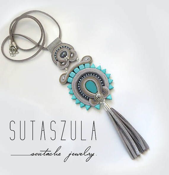 Boho gray turquoise tassel colorful necklace soutache OOAK
