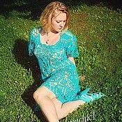 """Одежда ручной работы. Ярмарка Мастеров - ручная работа """"Бирюзовая роскошь"""" Платье крючком  из  хлопка. Handmade."""