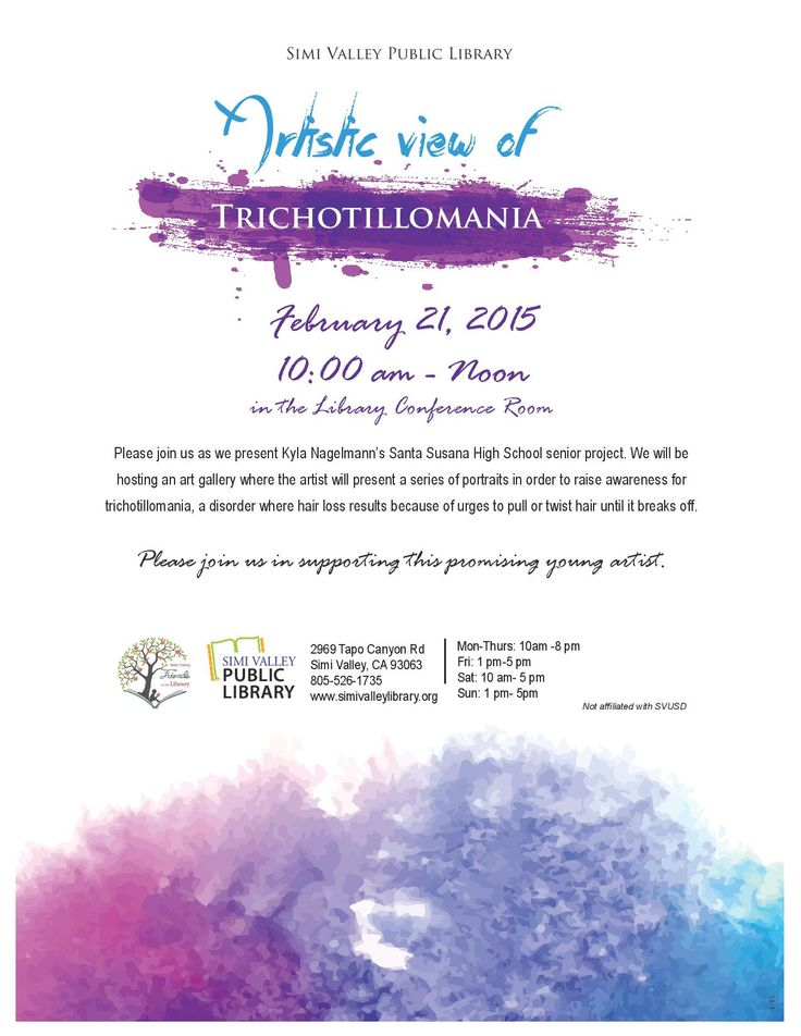 Please join us February 21st from 10:00 AM - 12:00 PM as we present Kyla Nagelmann's Santa Susana High School senior project. We will be hosting an art gallery where the artist will present a series of portraits in order to raise awareness for trichotillomania, a disorder where hair loss results because of urges to pull or twist hair until it breaks off. #svpl #simivalley #trichotillomania #art #seniorproject #santasusana #venturacounty