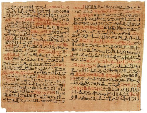 The Edwin Smith papyrus, the world's oldest surviving surgical document. Written in hieratic script in ancient Egypt around 1600 B.C., the text describes anatomical  observations and the examination, diagnosis, treatment, and prognosis of  48 types of medical problems in exquisite detail. Among the treatments  described are closing wounds with sutures, preventing and curing  infection with honey and moldy bread, stopping bleeding with raw meat...