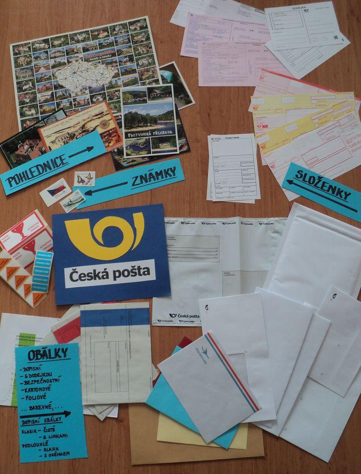Světový den pošty - ukázky - obálky, pohlednice, složenky podací lístky, typy aktuálních známek, nálepky ČP, ...