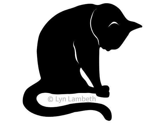 Sitting cat SVG, instant download thoughtful cat silhouette