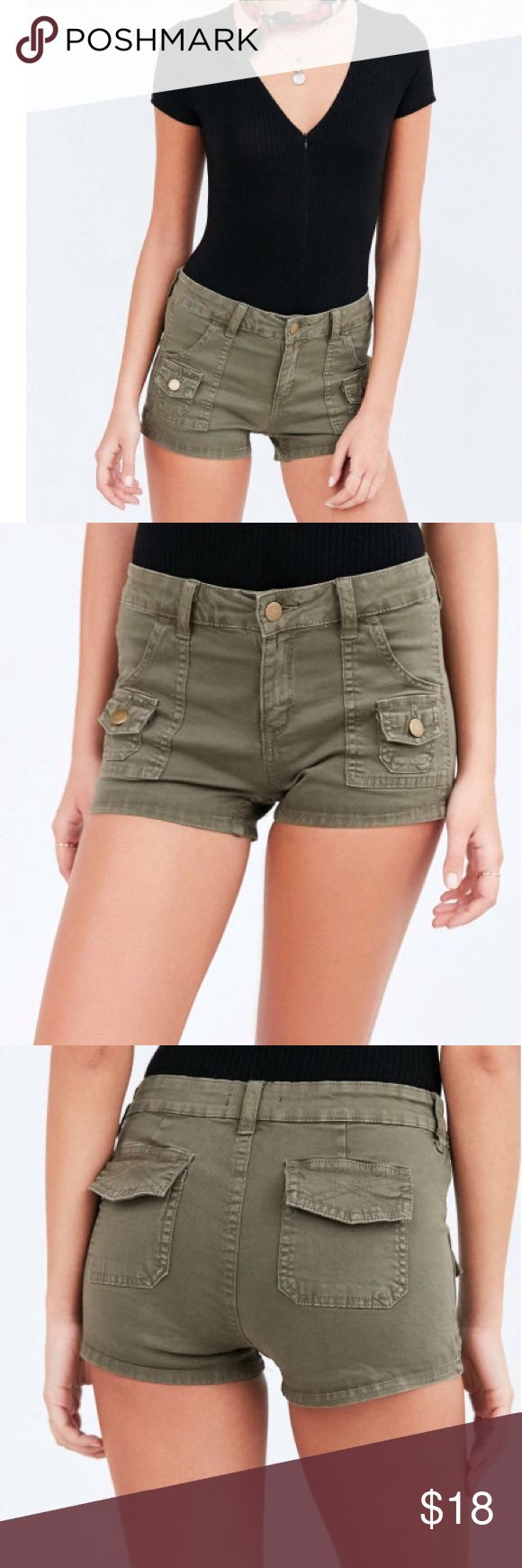 Hipster High Rise BDG Short from UO+ Free Gift Hipster High Rise BDG Utility Short from UO! Green Dana high-rise utility shirt features a button zip fly closure with 6 various pockets, Fitted + short for a flirty finish.  Cotton/Spandex Mix; FREE GIFT with purchase see picture 4 Urban Outfitters Shorts