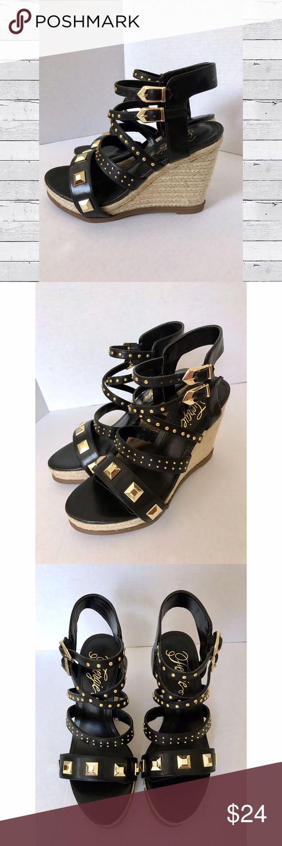 "Black Studded Espadrille Wedge Sandals New with box - Black strappy, gold studded, espadrille wedge sandals - 4"" heel - Brand: Fergie Fergie Shoes Espadrilles"