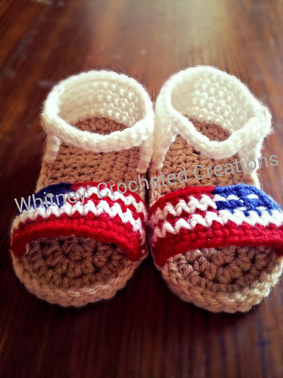 crochet 4th of july sandals american flag ♡ by crochetforkids1828