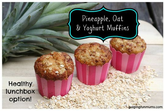 Healthy Pineapple, Oat & Yoghurt Muffins! Moist, sweet and yummy! Perfect for the school lunchbox!