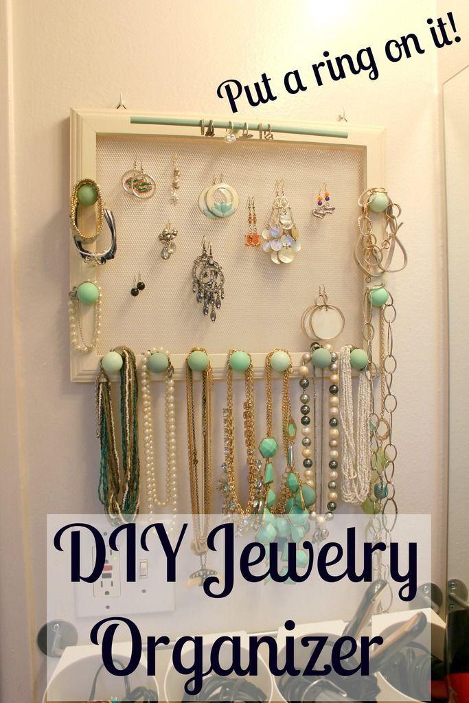 DIY Hanging Jewelry Organizer Quick DIY Jewelry Making Ideas
