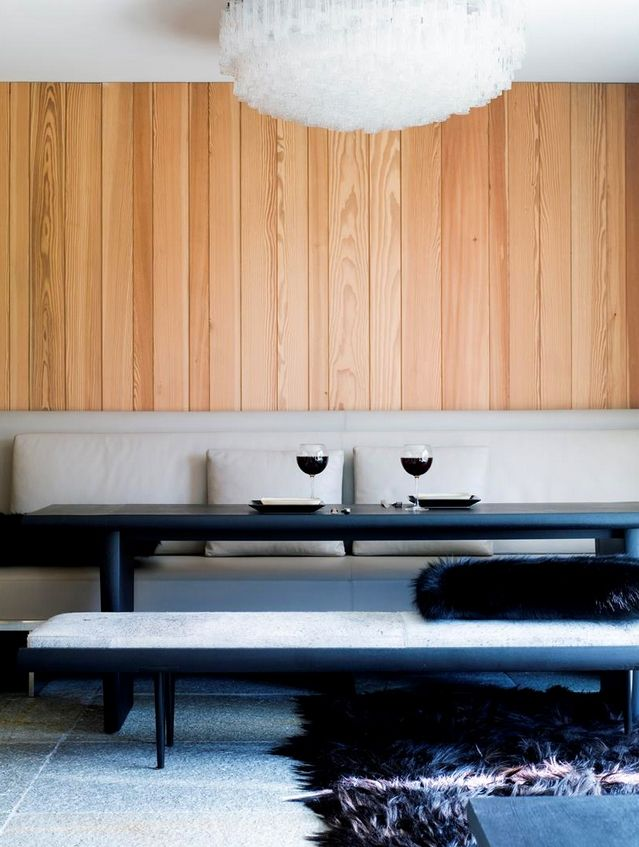 Dining room in a St. Moritz Ski Apartment by Gilles & Boissier