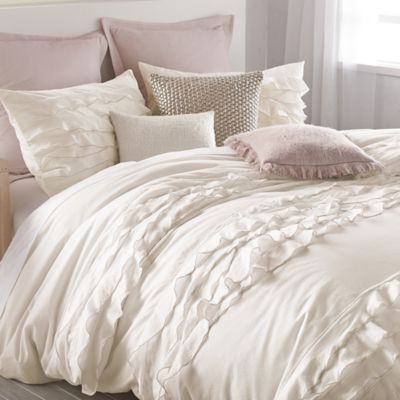 DKNY Flirt Duvet Cover in Off-White - BedBathandBeyond.com bed bath and beyond $120