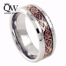 Queenwish 8mm Rose Gold Engageme Ring Celtic Dragon Carbide Carbon Fiber Band Fashion Jewelry Tungsten //Price: $US $11.87 & Up to 18% Cashback on Orders. //     #jewelry