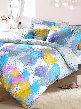 This set is an artist�s palette of Holi colours�young, vibrant, creative and eye-catching. Your bedsheet set can become a statement that defines a look for your room. The colours and the pattern combine a bold idea executed with style and taste. Our products are made of the finest quality of fabric. This 100% cotton bedsheet will give you comfort and luxury that only our trusted brand can offer. Info