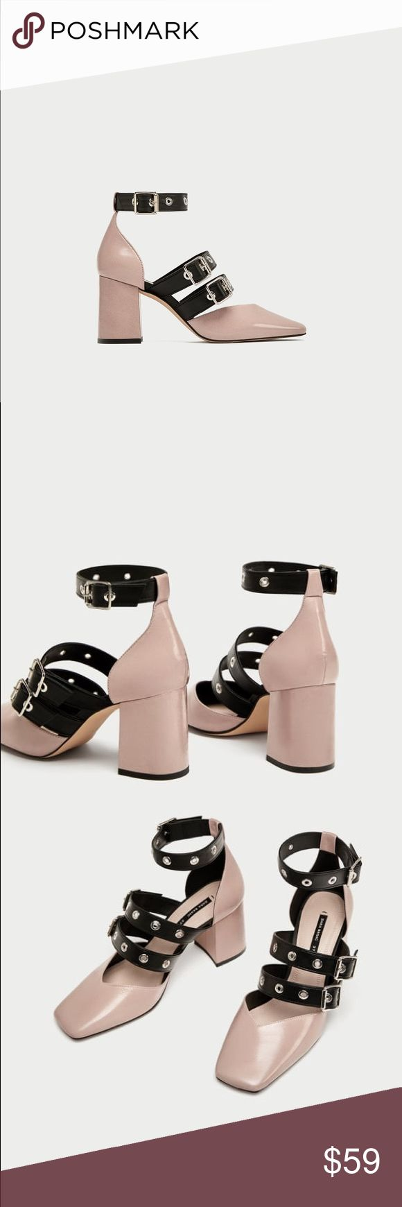 Zara Leather court shoes with buckle NWT. Sz 9 EU 40. Sz 10 EU 41. Fits true to size.  genuine Leather. pink Pumps.square toe.   Pink leather high heel shoes. Contrasting-coloured buckled straps on the instep and ankle and squared toes. The insole Measures 10.5 inches approx.  Heel height of 7,5 cm. / 2.9″ Zara Shoes Heels